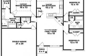 Back Imgs Single Story Bedroom Bath House Plans