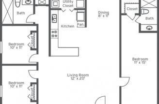 Bedroom Bath Apartment Floor Plans Long