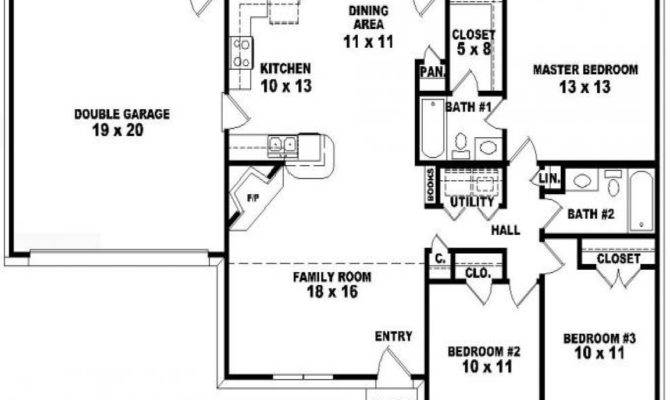 Bedroom One Story House Plans Toy Bath