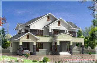Bedroom Sloped Roof House Feet Kerala Home Design