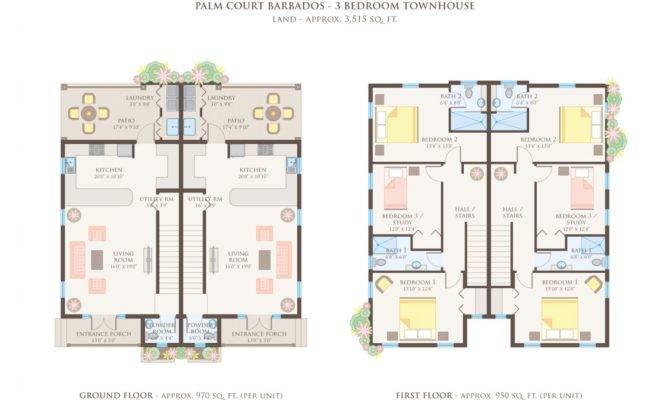 Bedroom Townhouse Floor Plans Garage