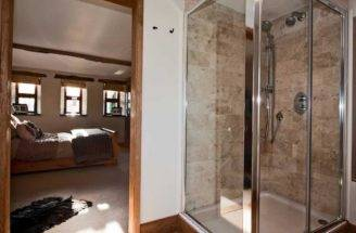 Beige Brown White Stone Effect Ensuite Shower Room Corner