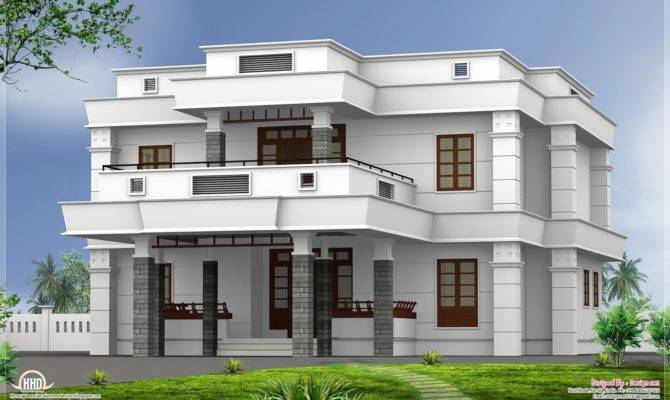 Bhk Modern Flat Roof House Design Kerala Home Floor Plans