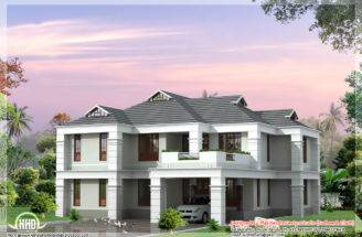 Bhk Sloping Roof House Design Architecture Plans
