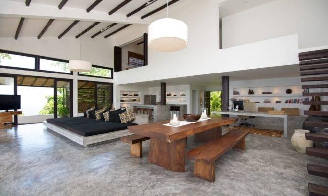 Black White Open Plan Living Space Interior Design Ideas