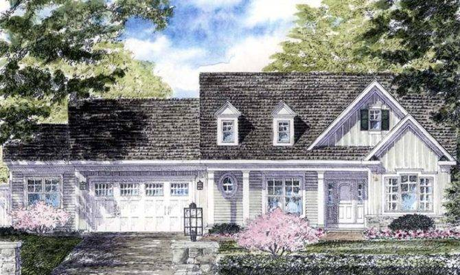 Cape Cod Colonial Cottage Country Ranch House Plan Looking