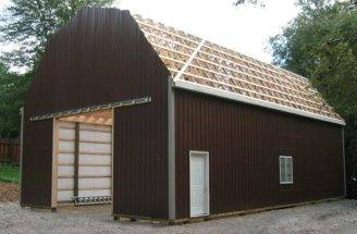 Check Pole Barn Plans Gambrel Roof Best Building Loafing Shed