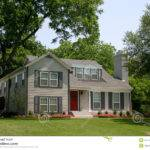Colonial Style House Extremely Red Front Door Suburban