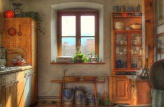 Cottage Home Interiors Stucco Kitchen