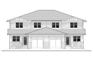 Craftsman Duplex Home Plan Back Plans