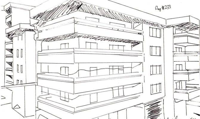 Days Drawing Little Sketch Modern Apartment Building