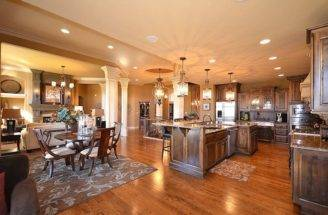 Dream Home Open Floor Plan Between Kitchen Living Room Area