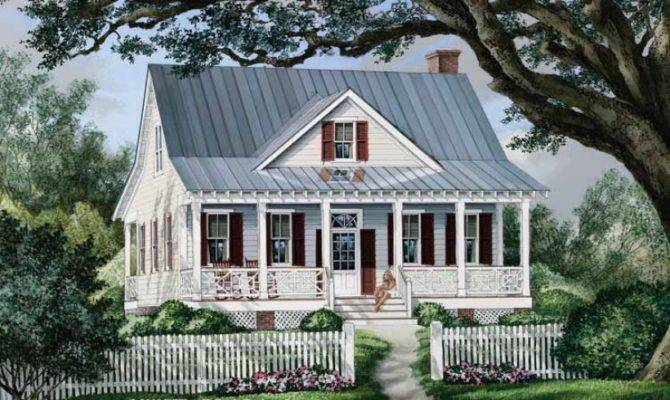 Eplans Cottage House Plan Seeing Double Porches Square Feet
