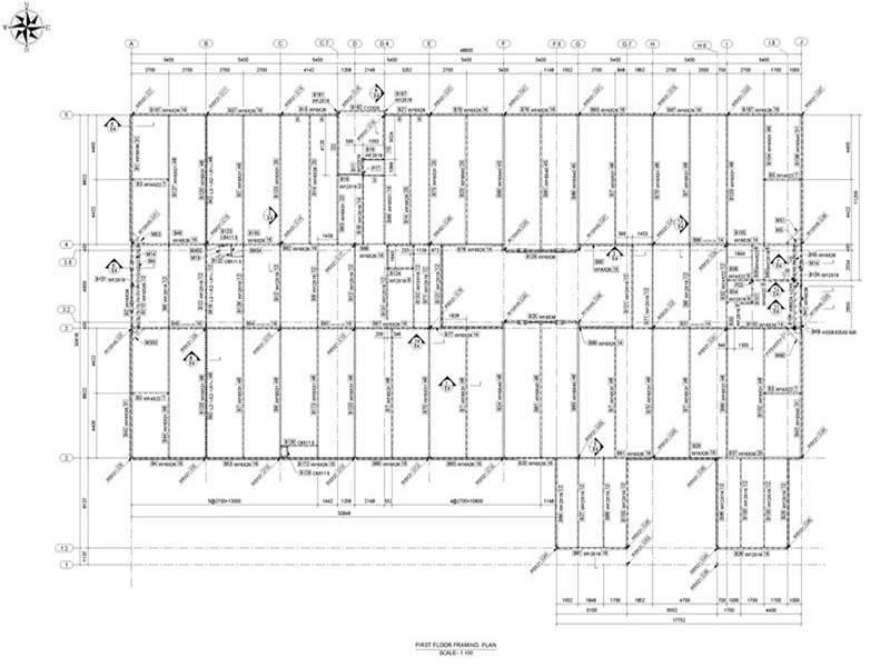 first floor framing plan structural modeling steel