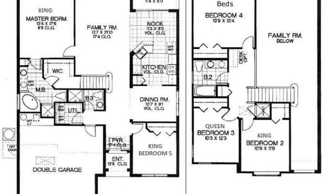 Five Bedroom Ranch Home House Plans Designs Floor Plan