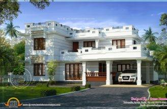 Flat Roof House Design Square Feet Indian Plans