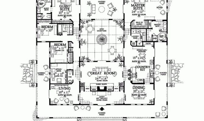 Floor Plan Hacienda Style House Plans Atrium