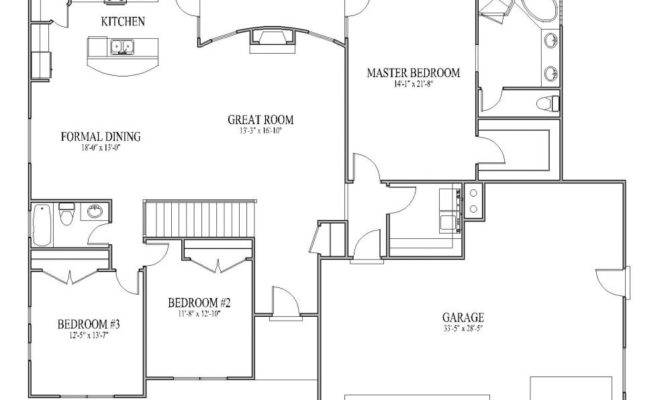 Floor Plans Homes Simple House Open Plan