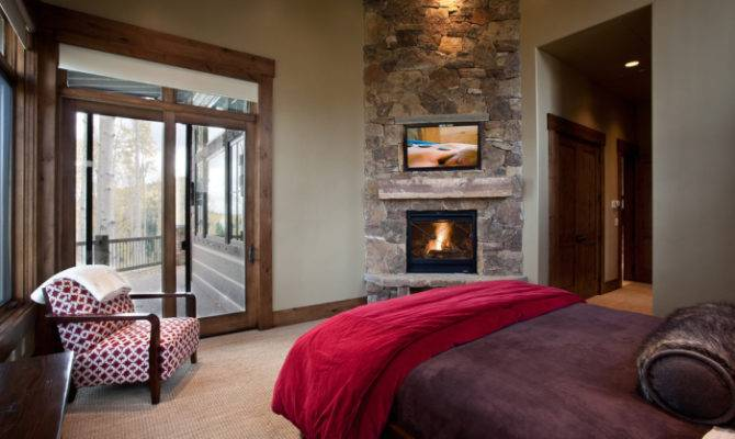 Grey Purple Red Rustic Traditional Bedroom Fireplace