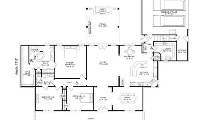 Handicap Accessible Home Plans Bedroom One Story House Plan