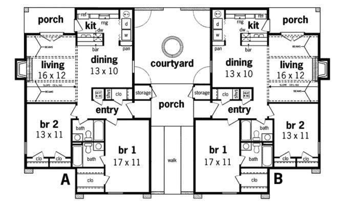 Henderson Place Duplex Home Plan House Plans More