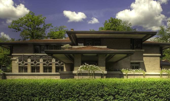 Home Design Frank Lloyd Wright Prairie Style Modern Suburb Area