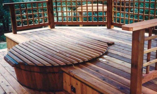 Hot Tub Deck Wood Surround Tubbing Pinterest