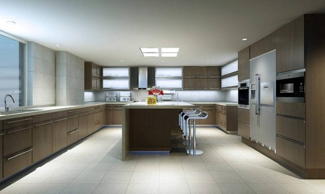 Huge Modern Kitchen Wood Cabinets White Floor Counter