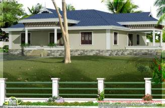 Kerala Style Single Story Bed Room Villa Nadumuttam
