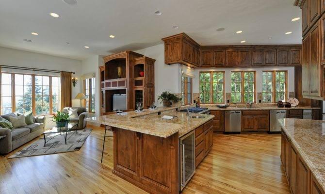 Living Room Floor Open Plan Between Kitchen