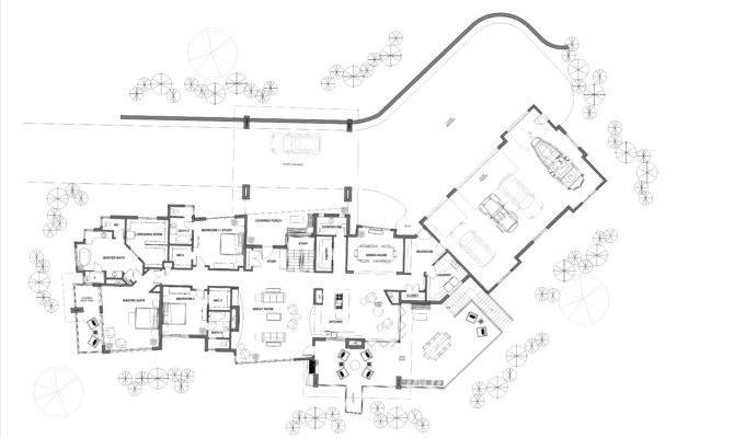Luxury Mountain Home Design Main Level Floor Plan