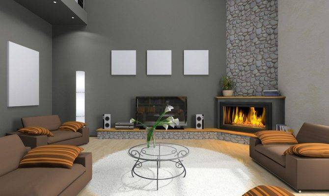 Modern Living Room Design Corner Stone Fireplace