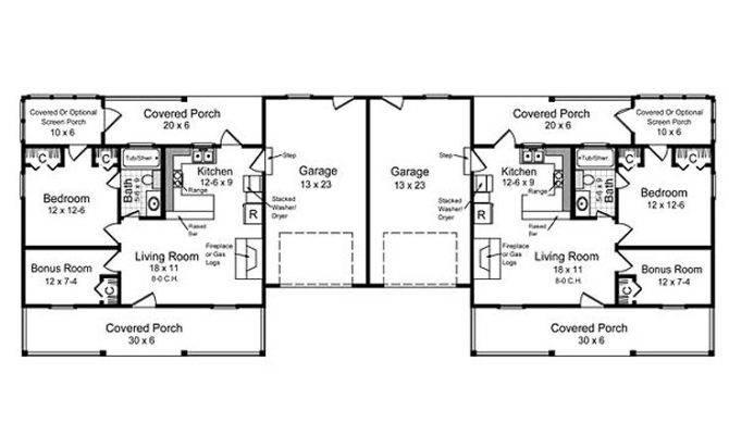 Multi Home Plans One Story Duplex House Plan