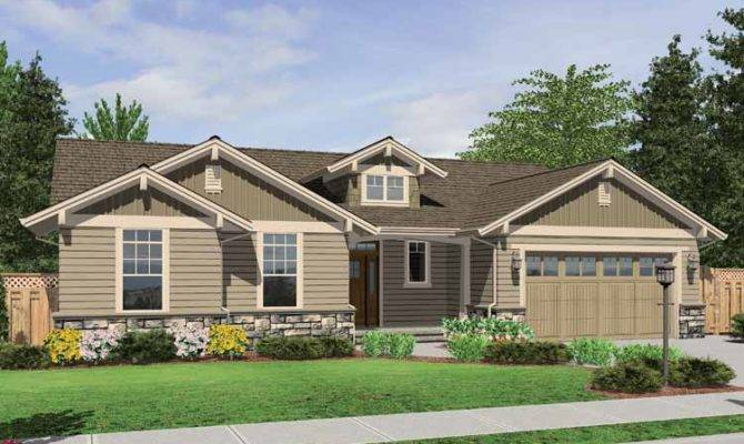 One Story Craftsman Plan Stone Accents