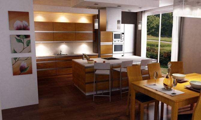 Open Kitchen Design Ideas Wooden Cabinet Island Applying