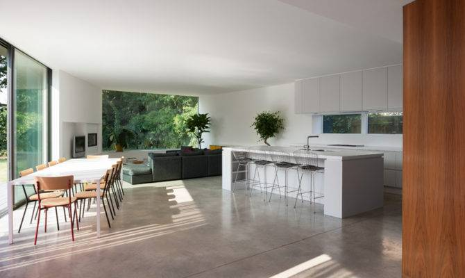 Open Plan Living Area Having Dining Room Kitchen