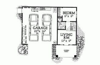 Plan Garage Studio Apartment Square Feet Bedroom