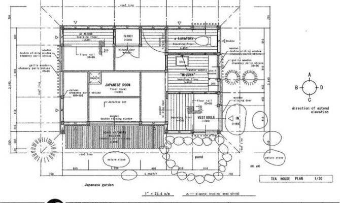 Plan Tea House Drawing Building Detail Temple Shrine