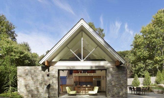 Pool House Opens Via Large Glass Garage Door
