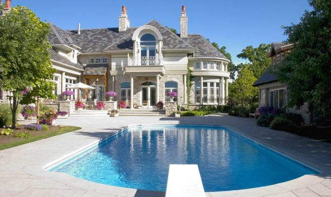 Pools Which Can Produce Relaxing Atmosphere Exterior Mansion Pool