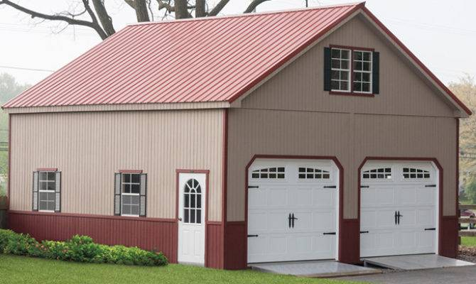 Pre Fabricated Garages Double Wide Story Garage Amish Backyard