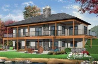 Rear Lakefront House Plan Bedrooms Open Floor Plans Large