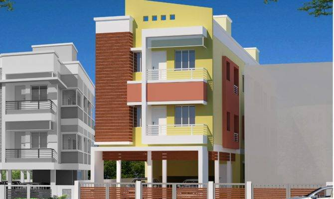 Residential Multi Storey Building Elevation Design Small Front