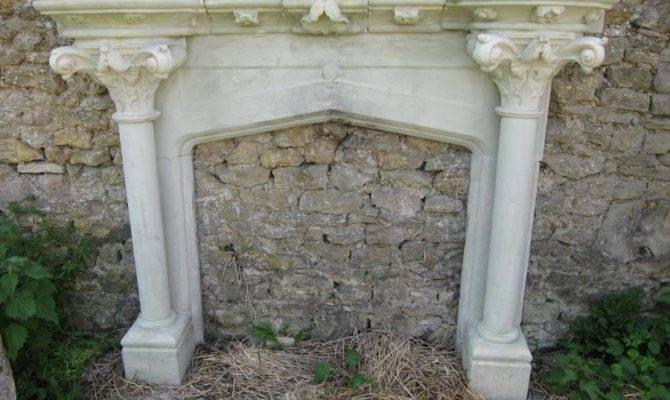 Salvoweb Antique English Bathstone Gothic Revival Fireplace