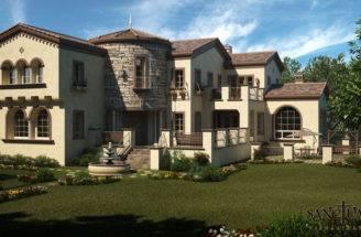 Sanctuary Visualization Tuscan House Exterior Illustration