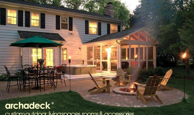 Screen Porch Hot Tub Deck Patio Firepit