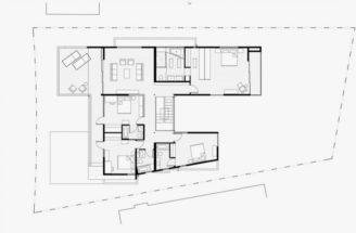 Second Floor Plan Modern House Many Open Areas Home
