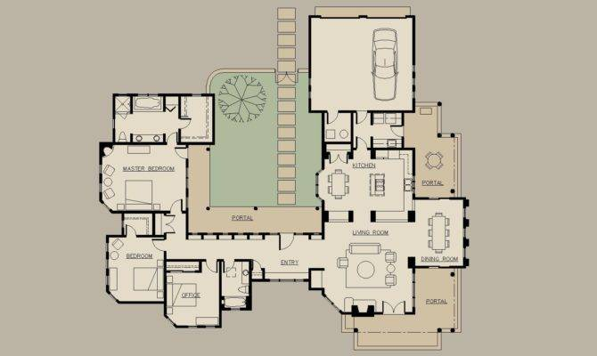 Shaped House Floor Plans Courtyard Home