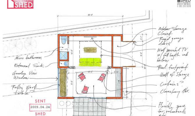 Shed Architecture Design Modern Studio Sketch Floor Plan