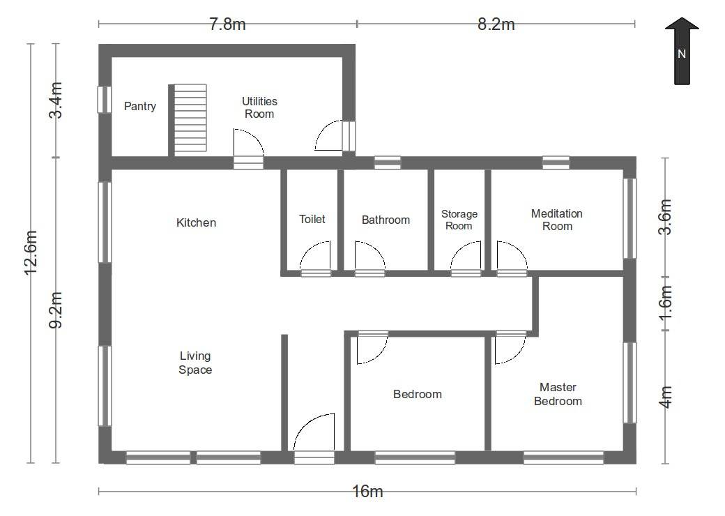 Simple floor plans measurements house home plans House layout plan